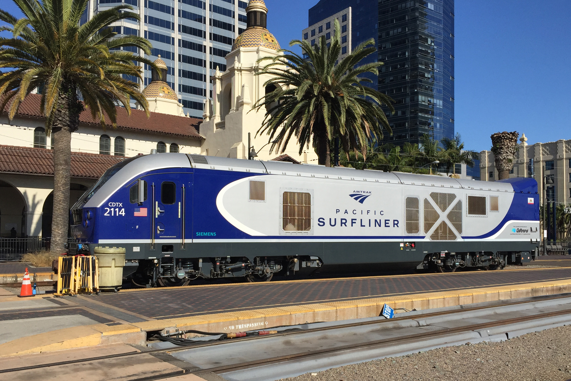 Pacific Surfliner at the Santa Fe train station at downtown San Diego.